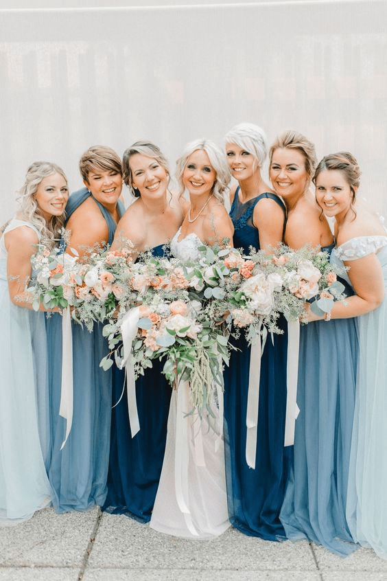 Blue hues are pretty wedding colors