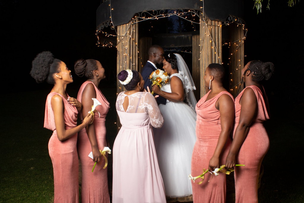 Bridal party in peach hues