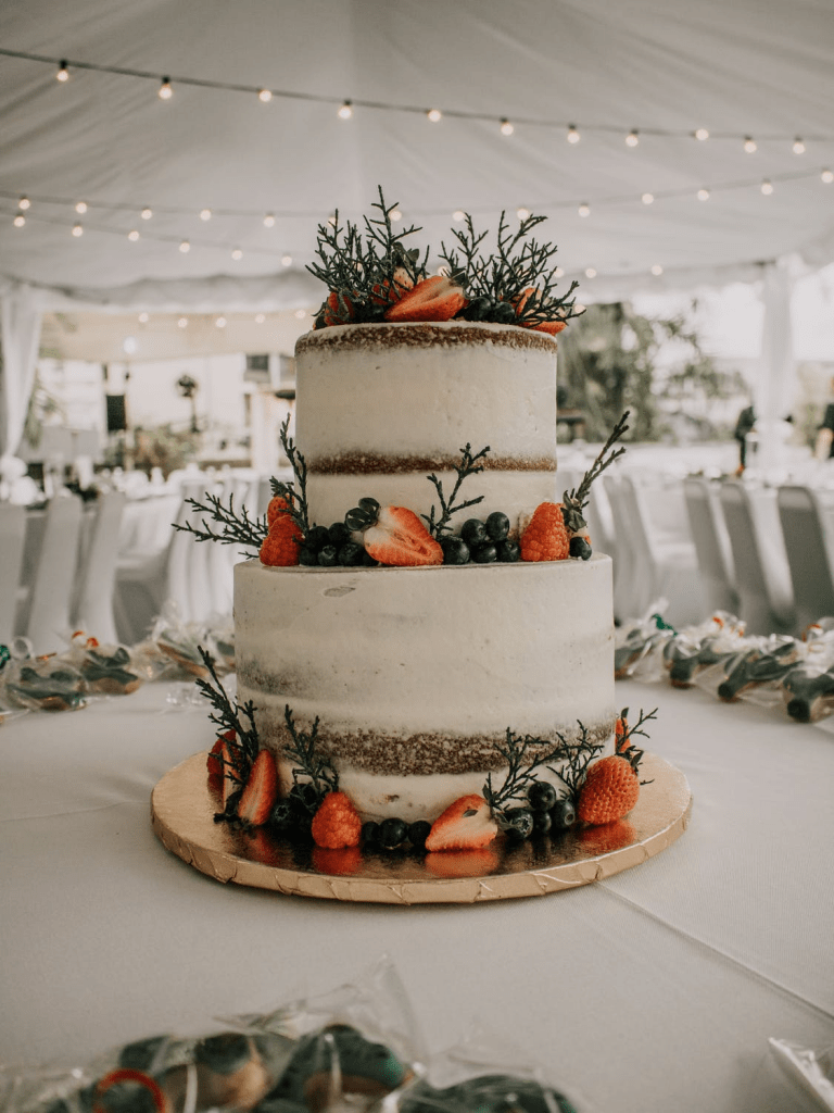 Naked wedding cake with berries and pine accents