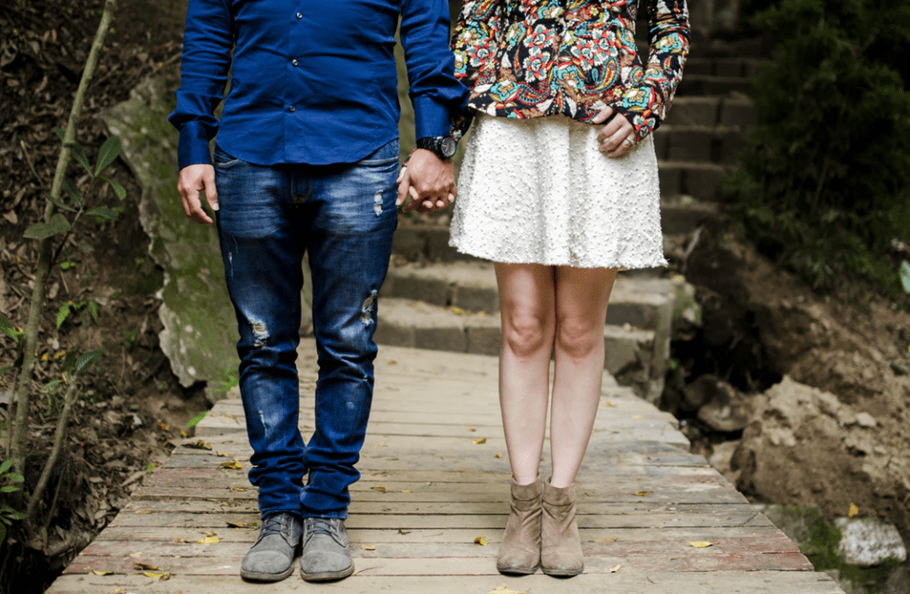 Cropped image of a stylish man and woman couple
