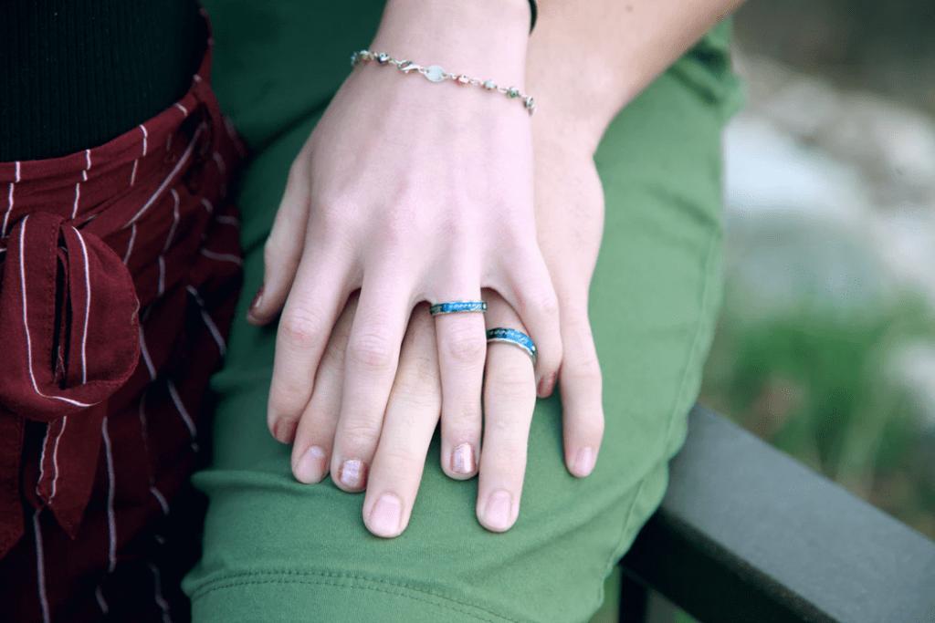 Engagement Photo Ideas: Close-up of unique engagement rings
