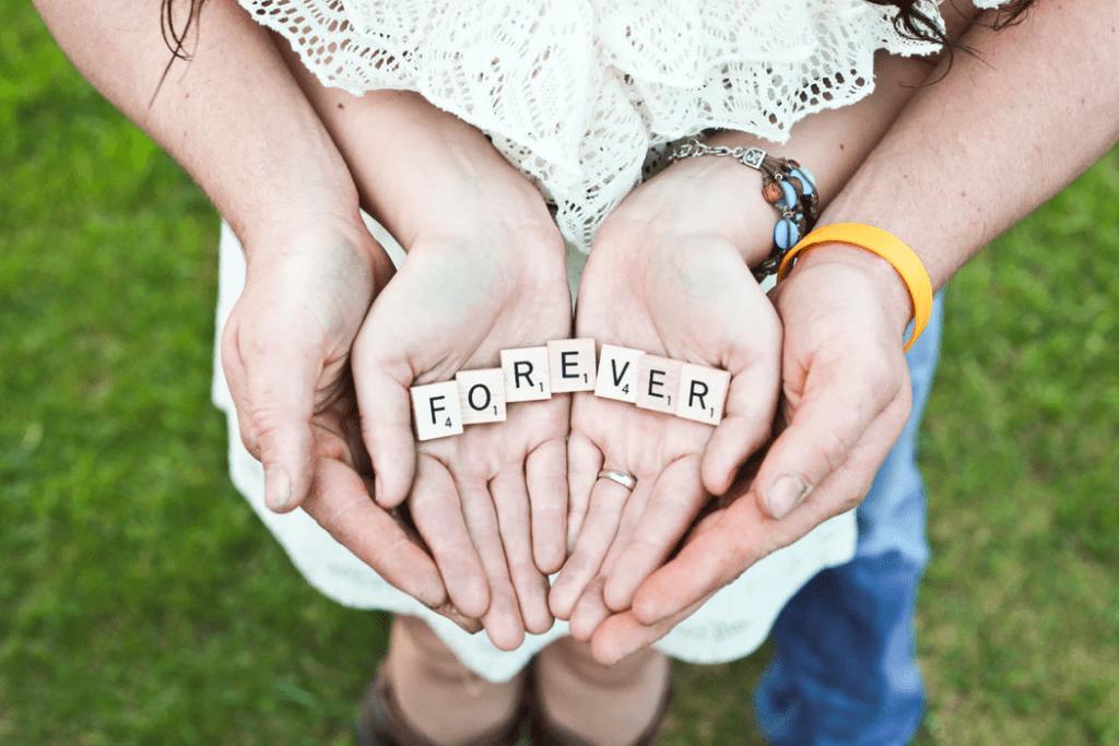 """Scrabble letter tiles spelling out """"Forever"""""""