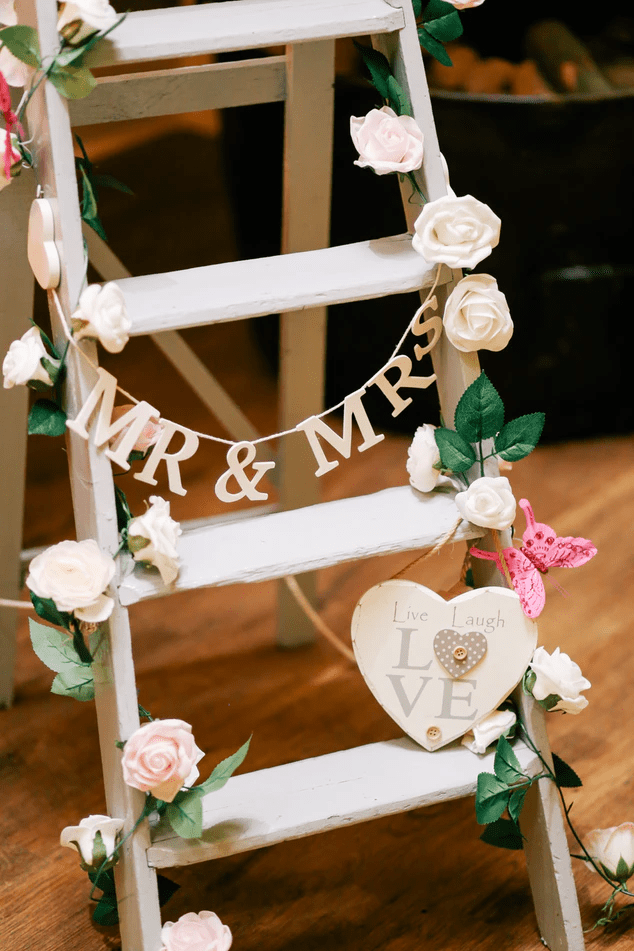 Mr and Mrs rustic ladder