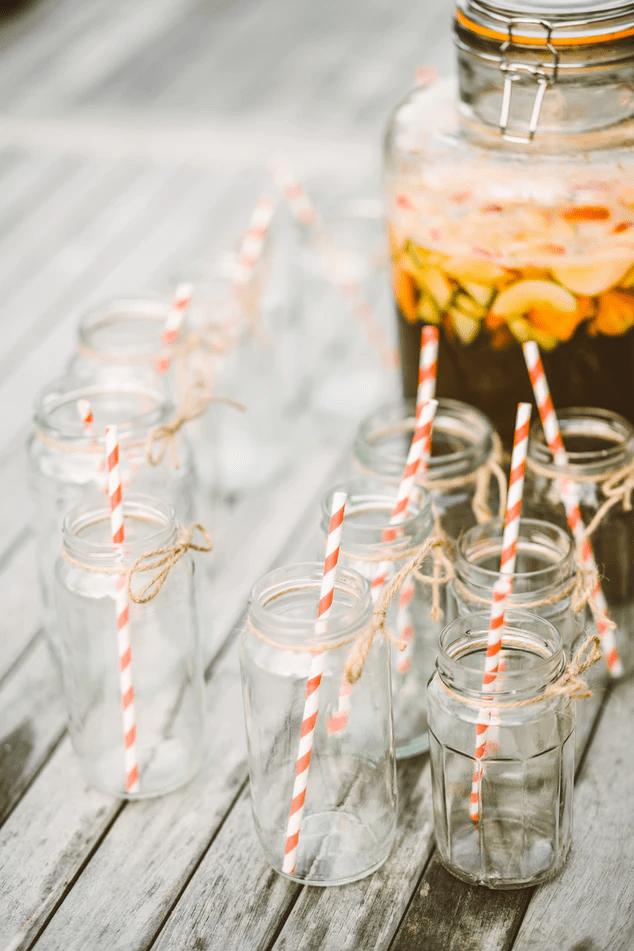 Mason jars with striped straws