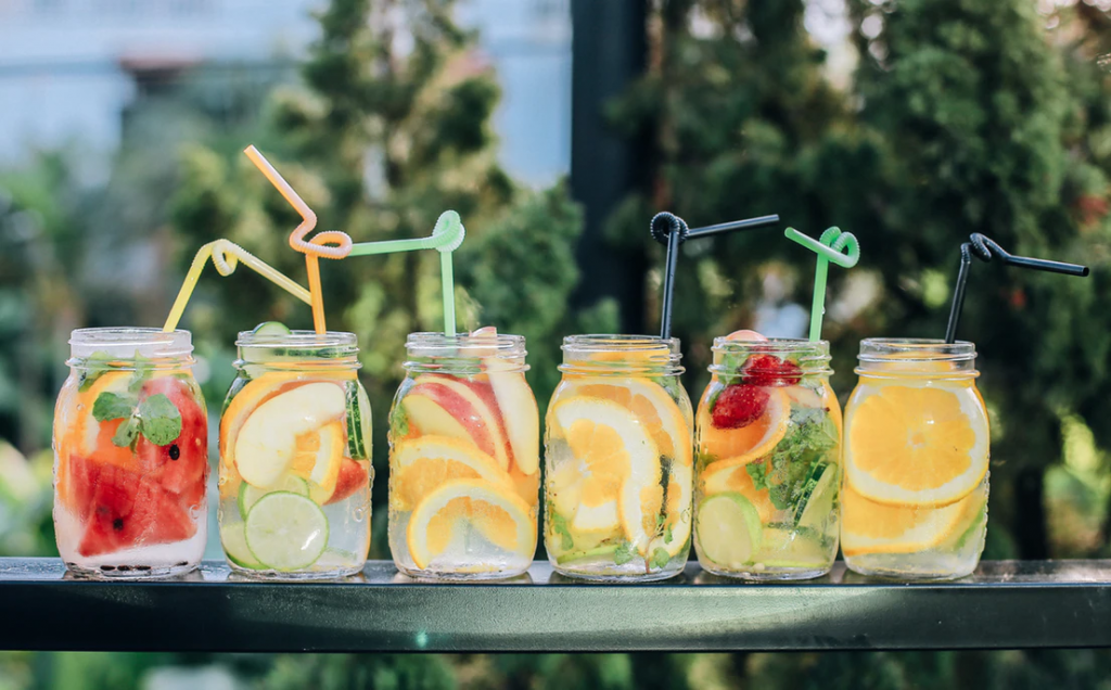 Bridal Shower Checklist: Pretty fruit-infused drinks in Mason jars