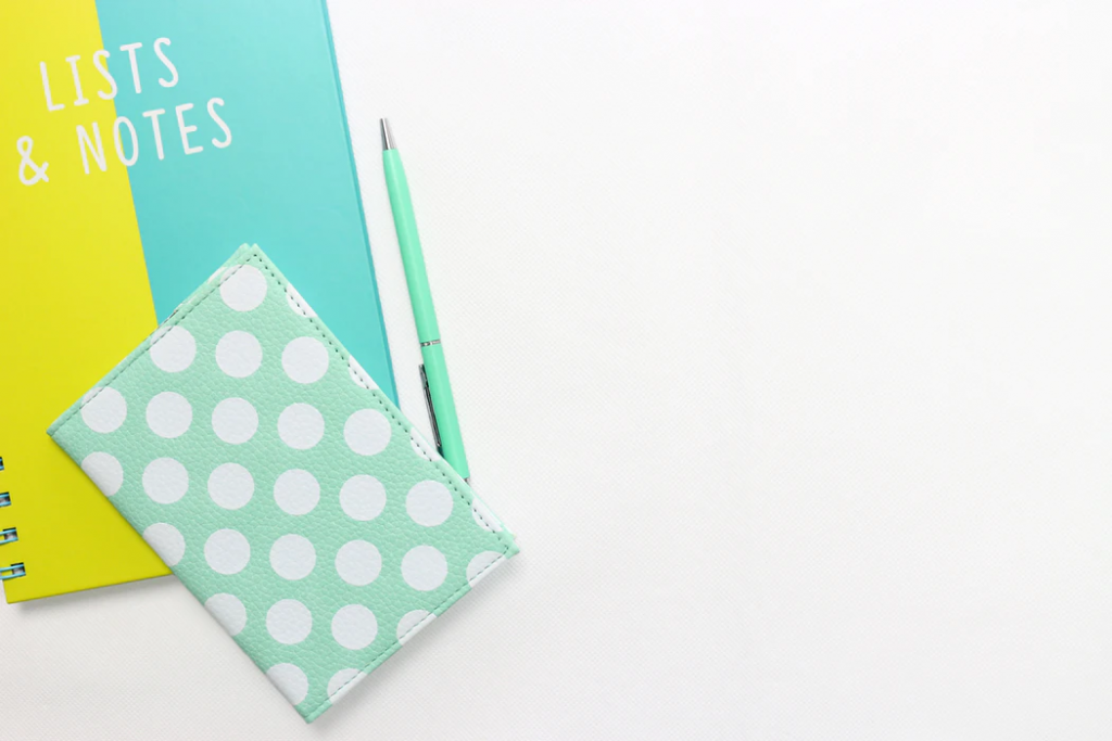 Wedding registry checklist: Notebook and pen