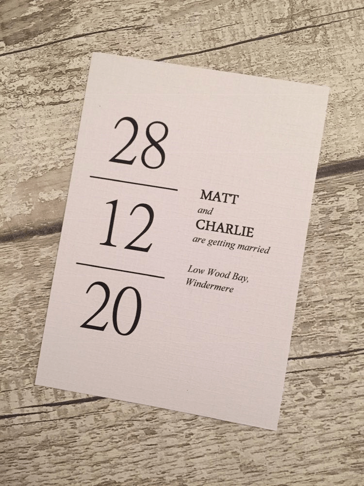 Classically minimal save-the-date calendar