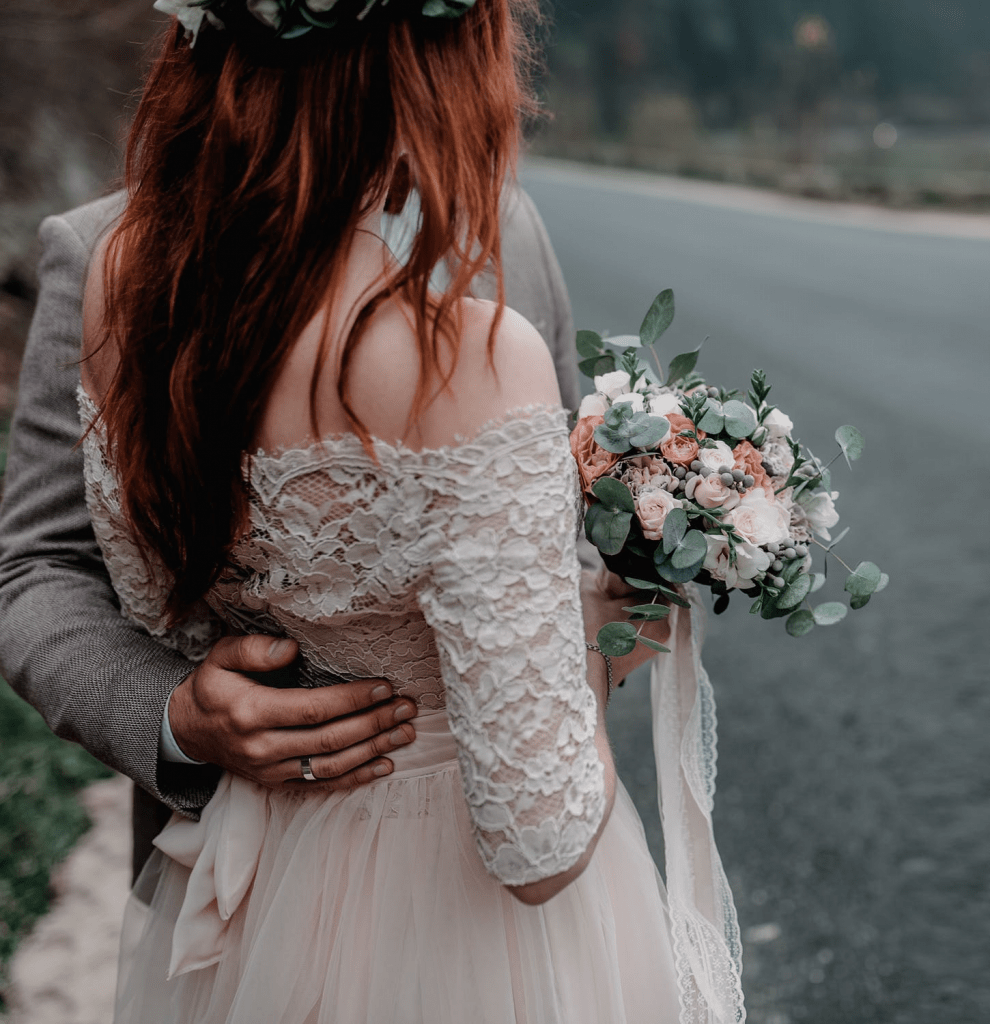 Peach flower bridal bouquet