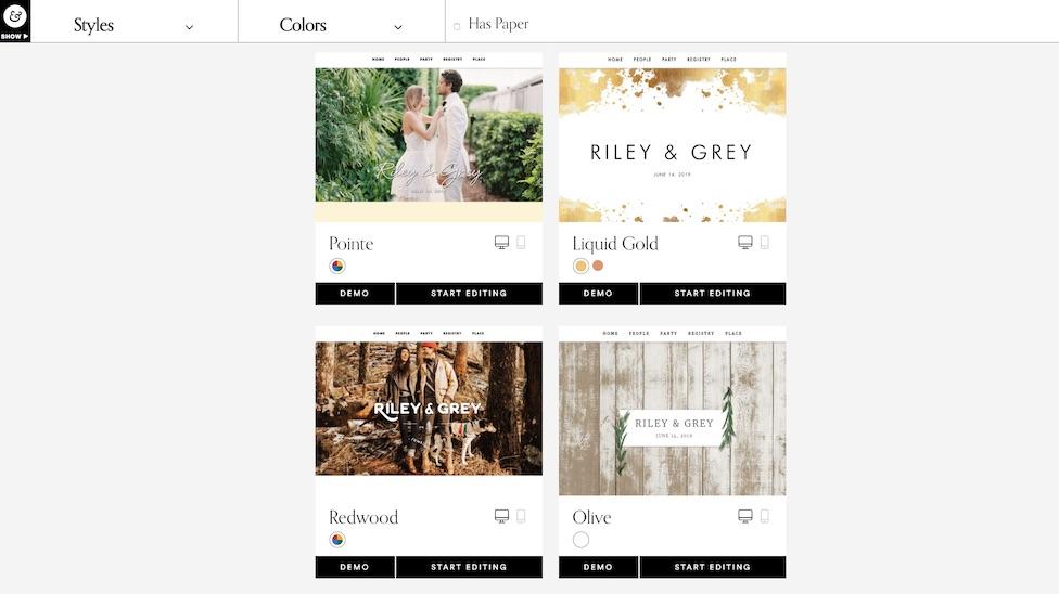 riley and grey wedding website