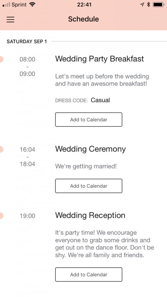 schedule app view