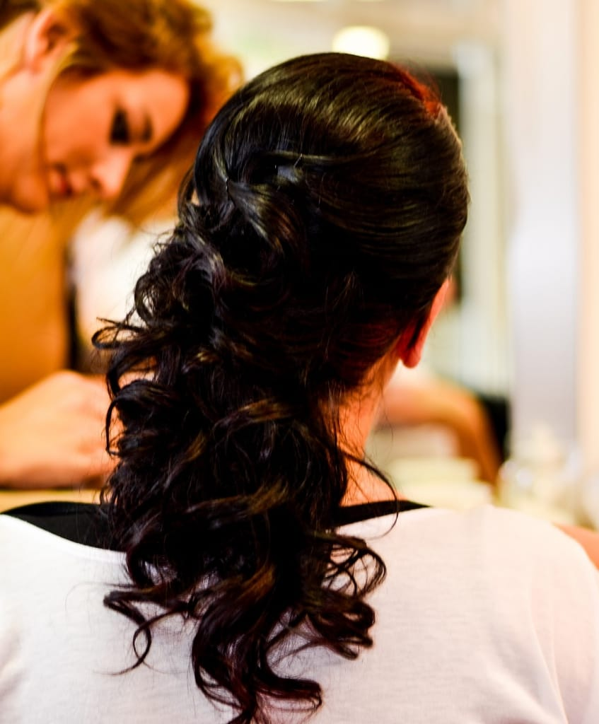 Bridesmaid Hairstyles: Curly Side Ponytail