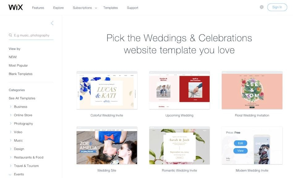 wix wedding website